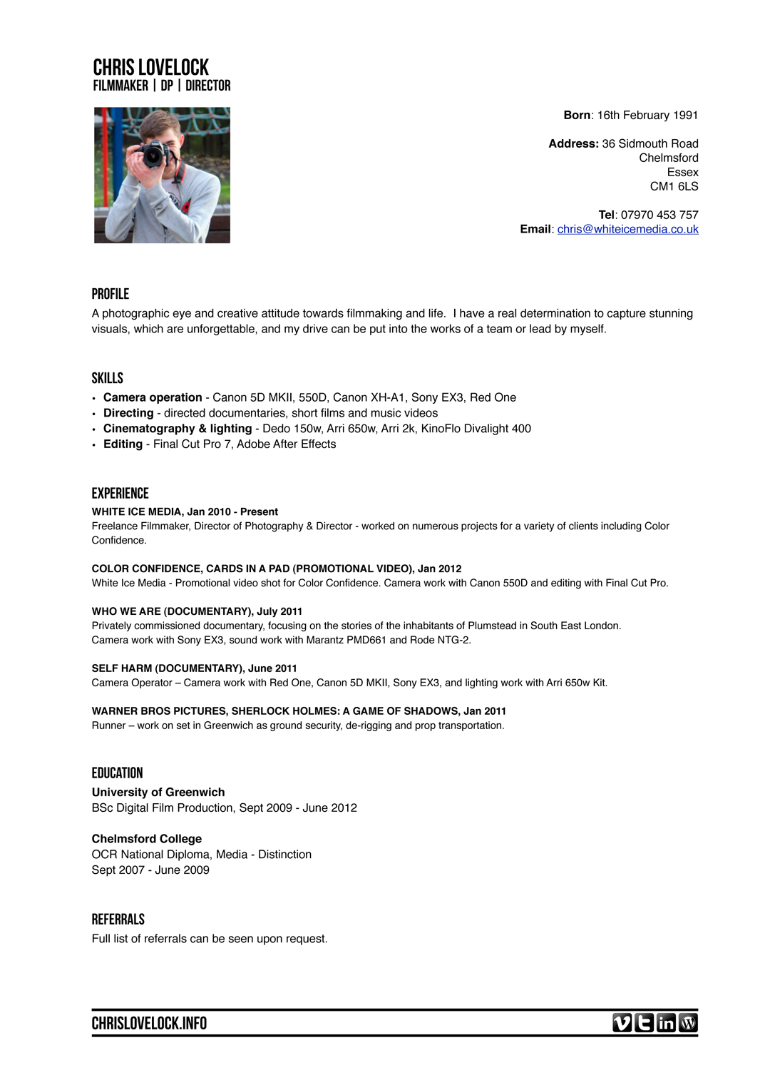 Film Resume Template Resume Format Download Pdf With Film Production